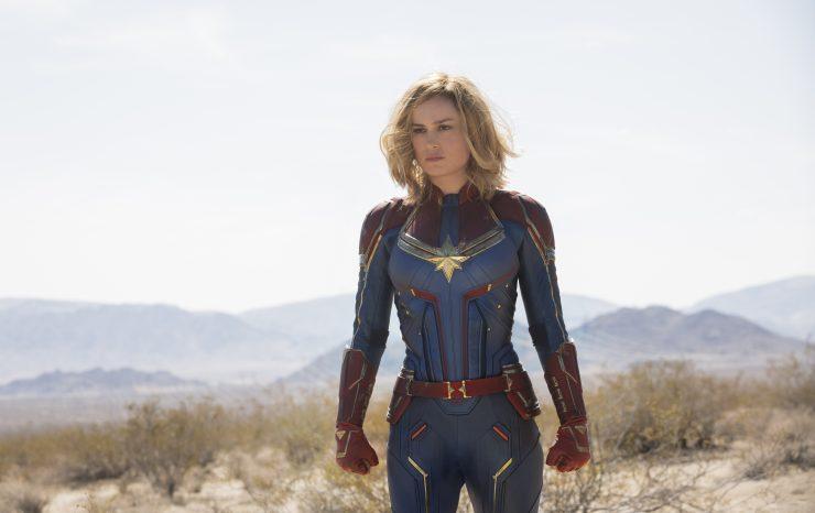 Captain Marvel in ihrem klassischen Superhelden Outfit war die erste weibliche Protagonistin unter den Marvel Helden.