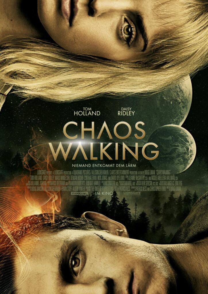 Das Kinoposter zu Chaos Walker zeigt die beiden Starts des Films. Tom Holland und Daisy Ridley.