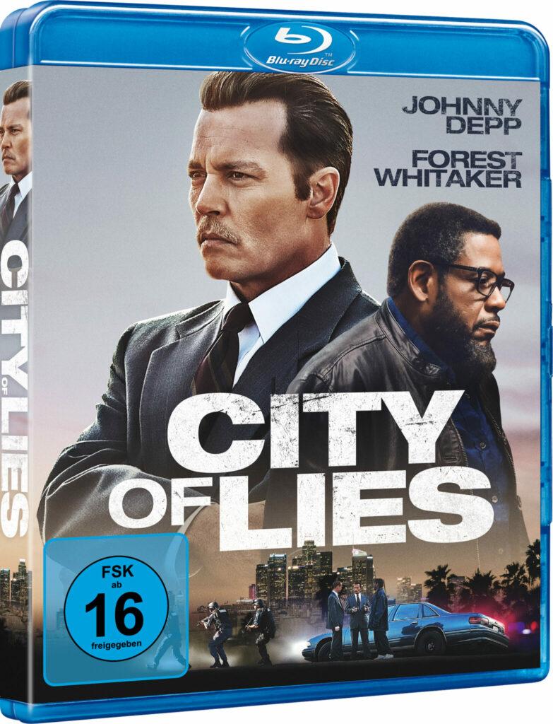Auf dem Blu-ray-Cover ist das Plakat von City of Lies mit den Portraits der beiden Hauptdarsteller Johnny Depp und Forest Whitaker abgebildet.