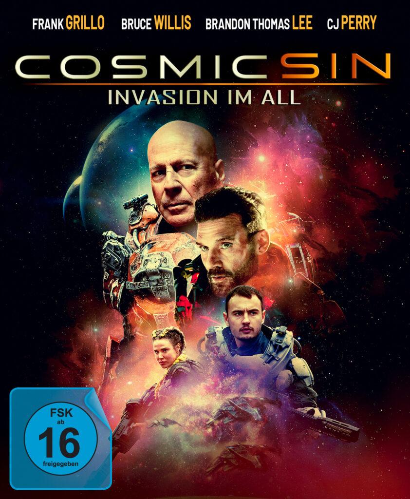 Das Cover zu Cosmic Sin - Invasion im All zeigt die beiden Stars des Films. Bruce Willis und Frank Grillo