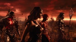 RAY FISHER as Cyborg, GAL GADOT as Wonder Woman, EZRA MILLER as The Flash and JASON MOMOA as Aquaman in Justice League from 2017