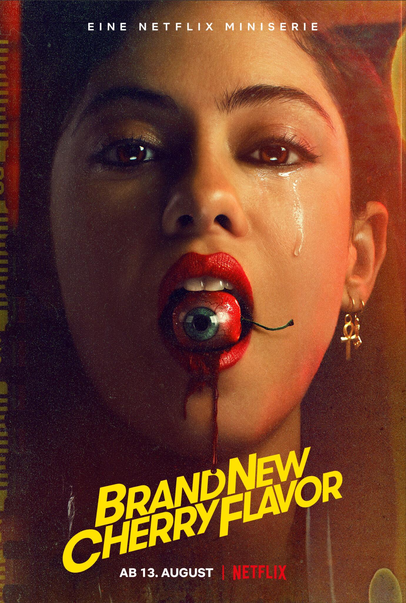 Das deutsche Poster zur Serie Brand New Cherry Flavor zeigt das Porträt der Protagonistin mit einem Auge in Kirschform im Mund.