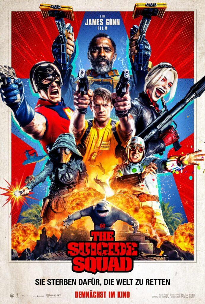 Mit gezückten Waffen und einem Kampfschrei auf den Lippen begrüßen einen die Mitglieder von The Suicide Squad auf dem Plakat, begleitet von großen Explosionen.