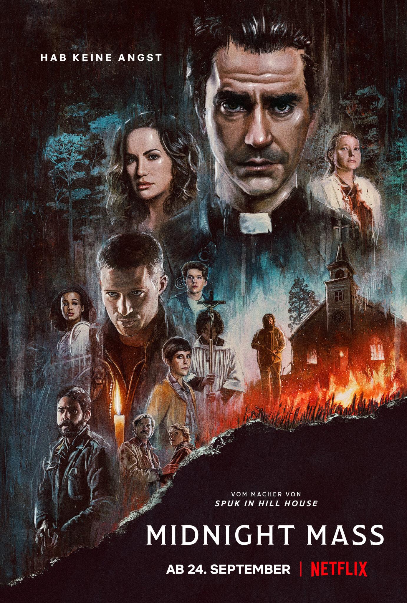 Das Poster zur Miniserie Midnight Mass zeigt einige der wichtigen Personen in gezeichneter Optik und ein brennendes Kirchengebäude.