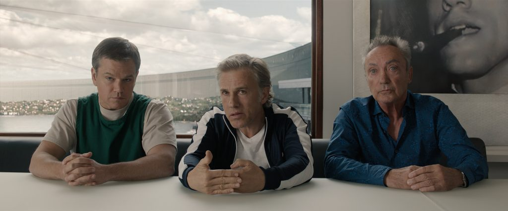 Matt Damon plays Paul, Christoph Waltz plays Dusan and Udo Kier plays Konrad in Downsizing from Paramount Pictures.