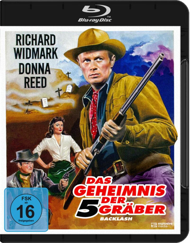 Das Cover der Blu-ray von Das Geheimnis der fünf Gräber zeigt das gezeichnete Filmplakat mit Richartd Widmark als Jim Slater im Vordergrund.