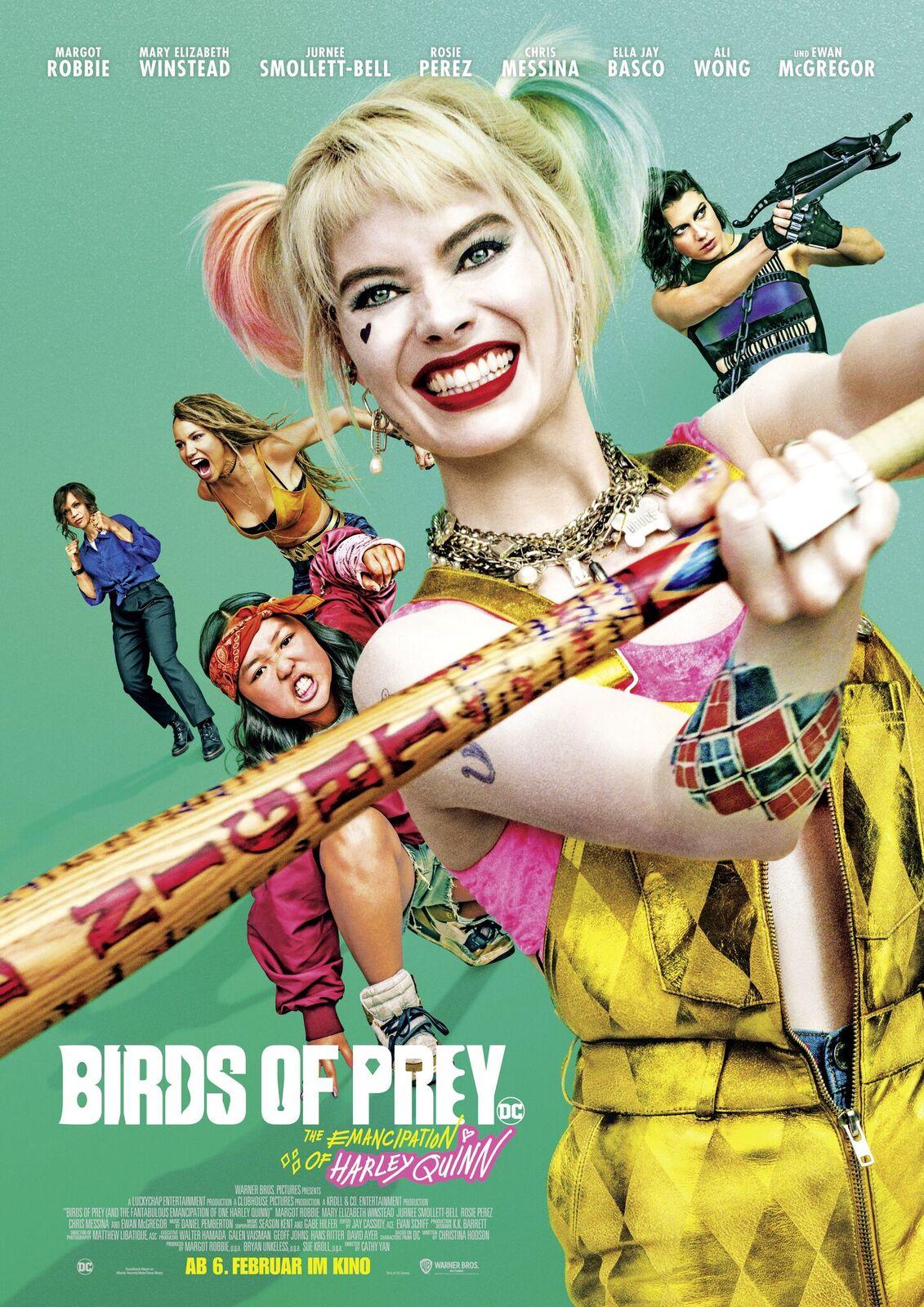 Auf dem Plakat von Birds of Prey ist Harley Quinn (Margot Robbie) grinsend mit einem Baseballschläger zu sehen.
