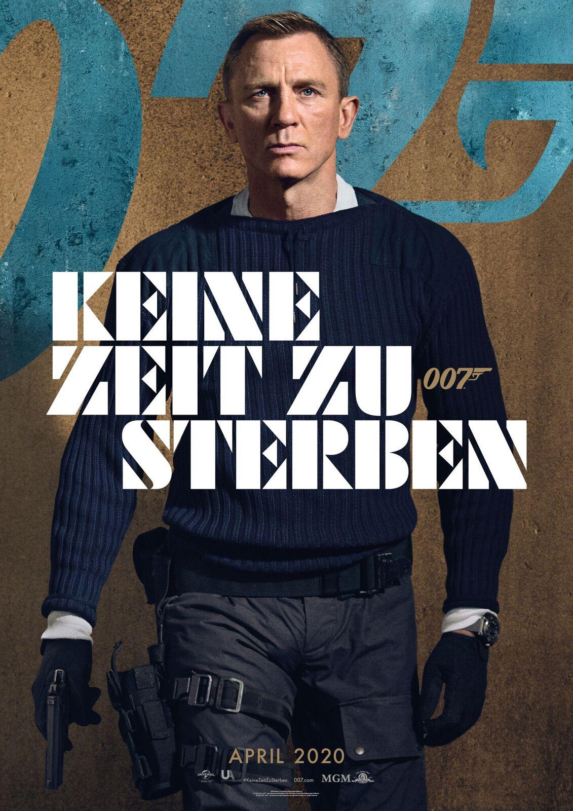 Das Kinoplakat zu James Bond No Time To Die zeigt einen bewaffneten Daniel Craig als James Bond vor einer Mauer stehen