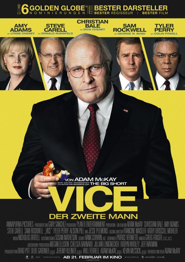 """Das Kinoplakat zu """"Vice - Der zweite Mann"""" (nominiert für 8 Oscars) ©Universum Film"""