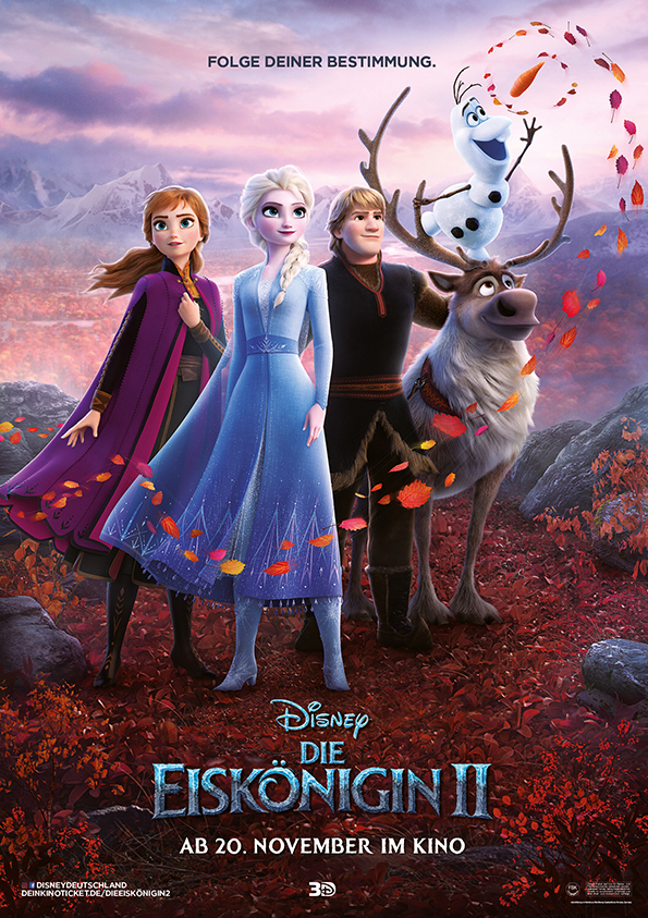 Das Kinoplakat von Die Eiskönigin 2 mit Anna, Elsa, Kristoff, Olaf und Sven