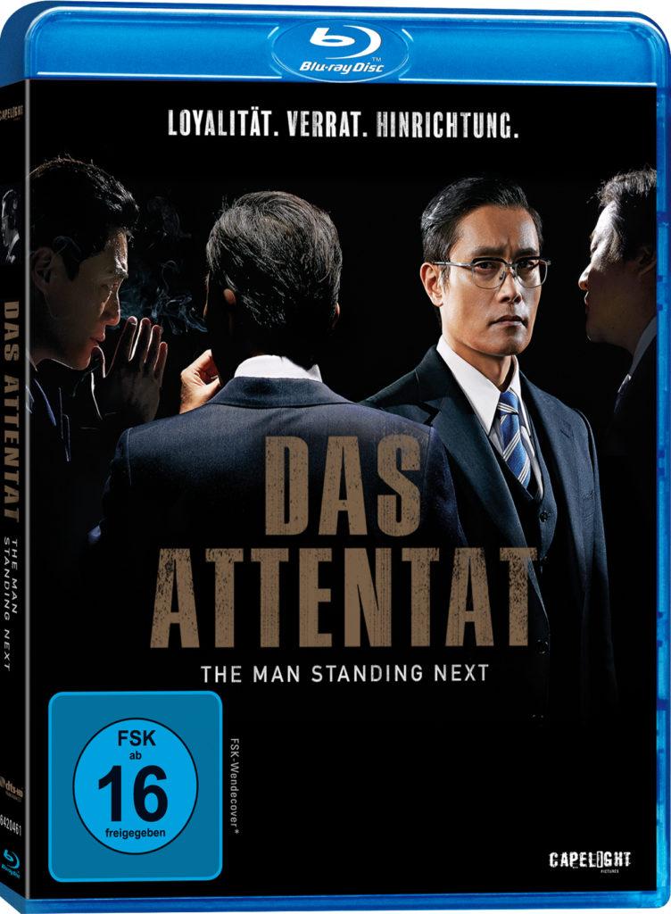 Das Cover der Blu-ray von Das Attentat - The Man Standing Next zeigt Hauptdarsteller Lee Byung-hun frontal und den Rücken bzw. das Profil von drei anderen wichtigen Protagonisten.