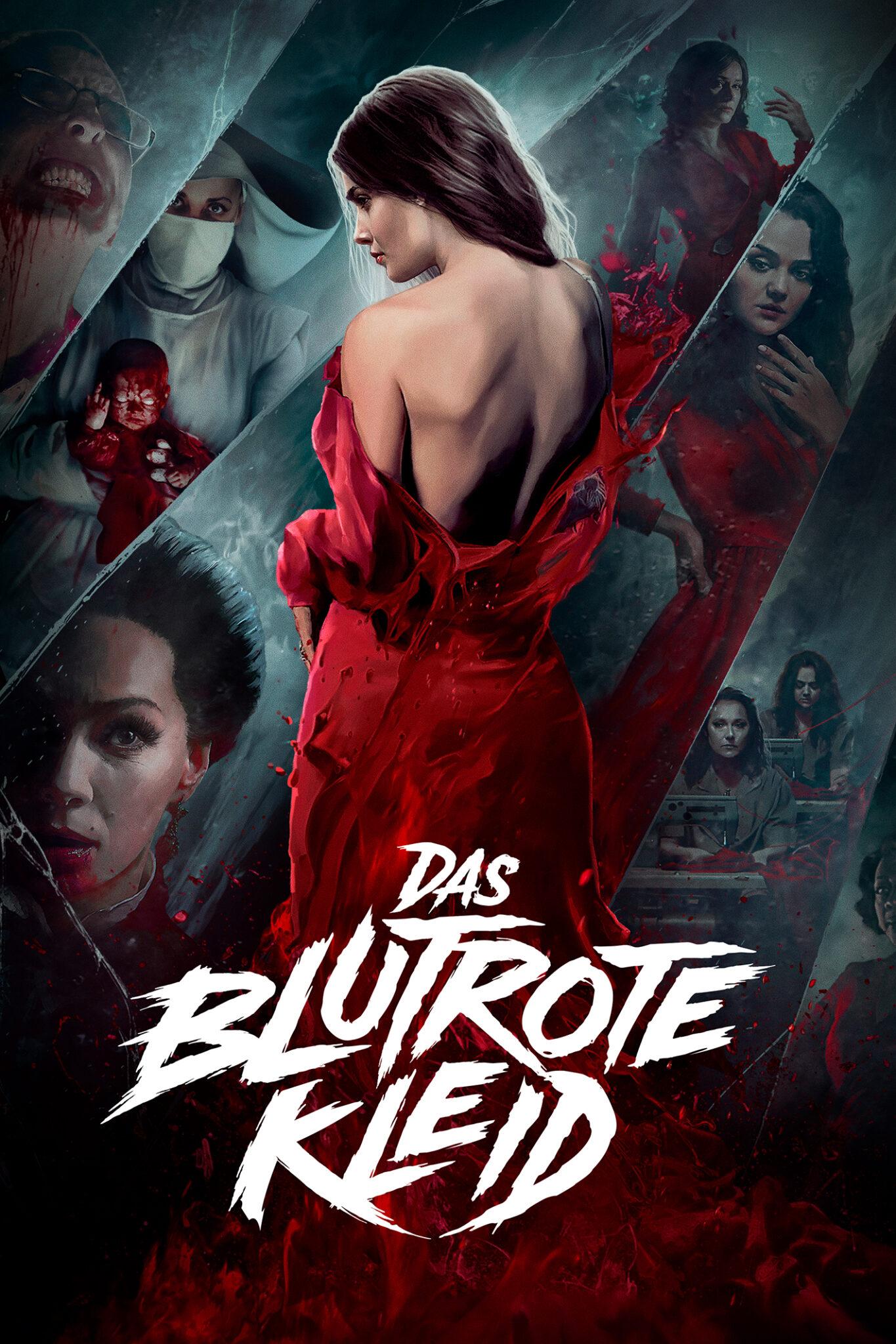 Auf dem Plakat zu Das blutrote Kleid sieht man gezeichnet eine Frau mit dem roten Kleid von hinten und im Hintergrund einige Glasscherben, die verschiedene Szenen andeuten.