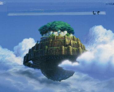 Laputa, das Schloss im Himmel, schwebt zwischen den Wolken