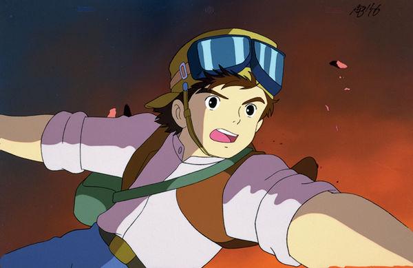Der Junge Pazu blickt erschreckt in eine Explosion