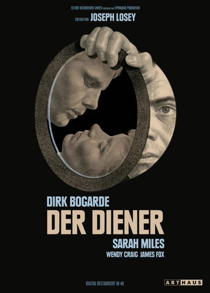 Das gezeichnete Cover von Der Diener zeigt vor schwarzem Hintergrund das Spiegelbild von Tony, gespielt von James Fox, und Susan, gespielt von Wendy Craig, in Kusspose. Der ovale Spiegel wird von Hugo, gespielt von Dirk Bogarde, gehalten, der die Szene wie durch ein Loch in der Wand zu beobachten scheint.