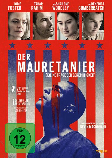 """Das deutsche Cover zu """"Der Mauretanier"""" ist hauptsächlich in rot gehalten. Oberhalb sind kleine Bilder von einigen Darstellern wie Jodie Foster zu sehen. Darunter sind Sterne in das rot eingelassen und auch mehrere Streifen, die einerseits zusammen die amerikanische Flagge darstellen und andererseits wie Gitterstäbe wirken. Hinter diesen ist dann der Konterfei von Tahar Rahim als Titelfigur zu sehen."""