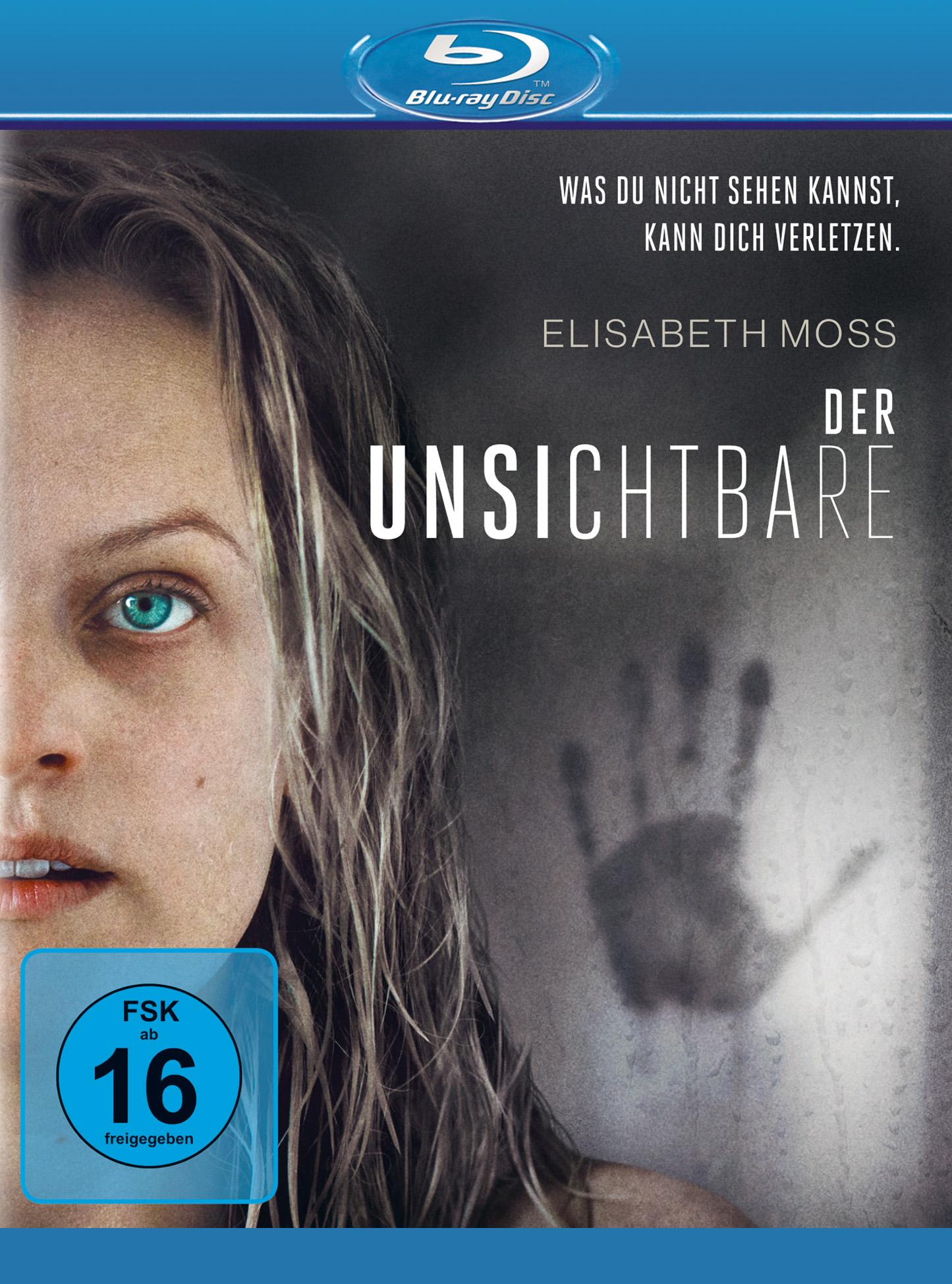 Das Cover der Blu-ray zu Der Unsichtbare zeigt das halbe Gesicht der Protagonistin Cecilia (Elisabeth Moss), daneben einen Handabdruck an der beschlagenen Duschkabine.