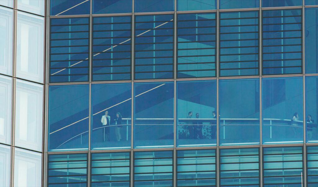 Die verglasten Gebäude der Frankfurter Finanzwelt