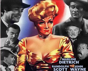Marlene Dietrich ist groß auf dem Cover von Die Freibeuterin abgebildet, um sie herum die Köpfe der fünf Männer und einer Frau, die um und mit ihr konkurrieren