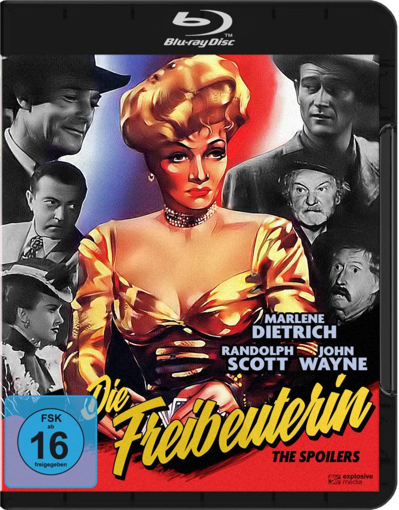 Marlene Dietrich ist groß auf dem Cover von Die Freibeuterin abgebildet, um sie herum die Köpfe der fünf Männer und einer Frau, die um und mit ihr konkurrieren.