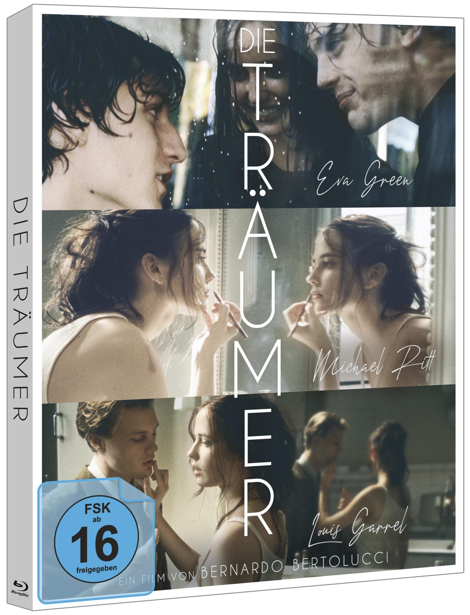 Das schön gestaltete Cover zu Die Träumer zeigt drei Szenenbilder untereinander. In schlichter weißer Schrift zieht sich der Titel von oben nach unten.