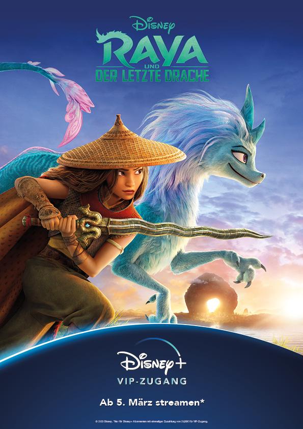 Auf dem Filmposter zu Raya und der letzte Drache kämpfen Raya (Kelly Marie Tran) und Sisu (Awkwafina) Seite an Seite gegen das Böse.
