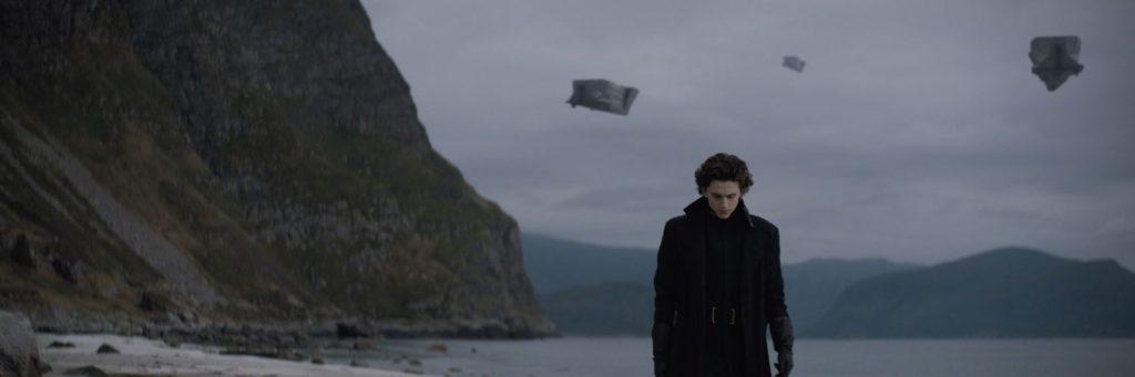Auf dem Bild, welches auch im Dune Trailer vorkommt, sieht man Timothée Chalamet als Paul Atreides, der an einem Strand entlanggeht. Das Bild sieht sehr trist aus. Im Hintergrund ist eine kleine Felsformation zu sehen. Des Weiteren scheinen Gegenstände in der Luft zu schweben.