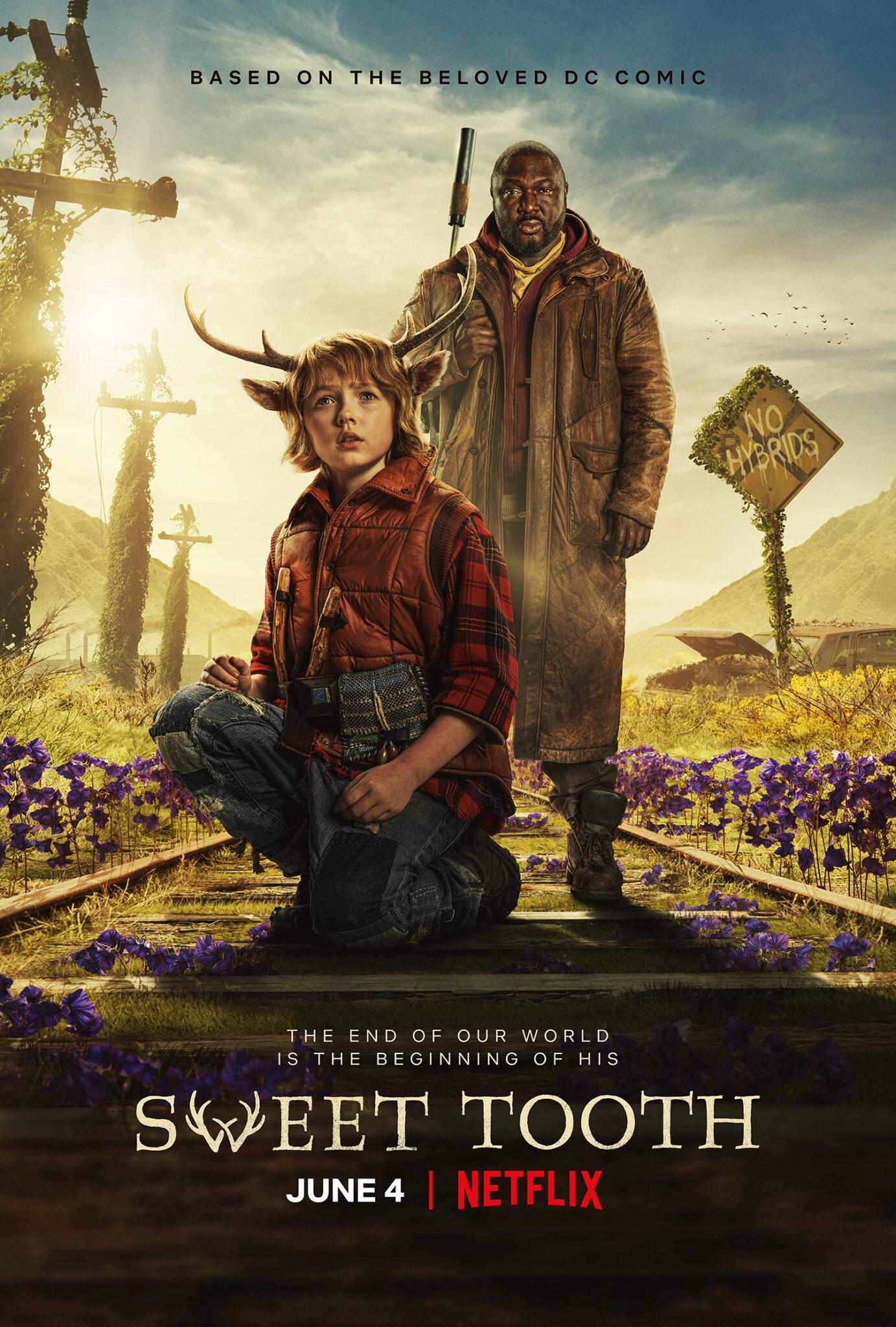 Das englische Plakat zu Sweet Tooth zeigt den Protagonisten Gus und seinen Begleiter, den großen Mann, auf einem Gleis. Um sie herum wachsen violette Blumen.