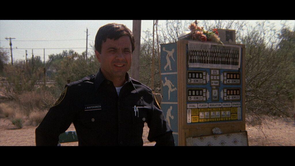 Jim steht in der Steppe neben einem Tankautomaten und schaut fragend drein - Electra Glide in Blue