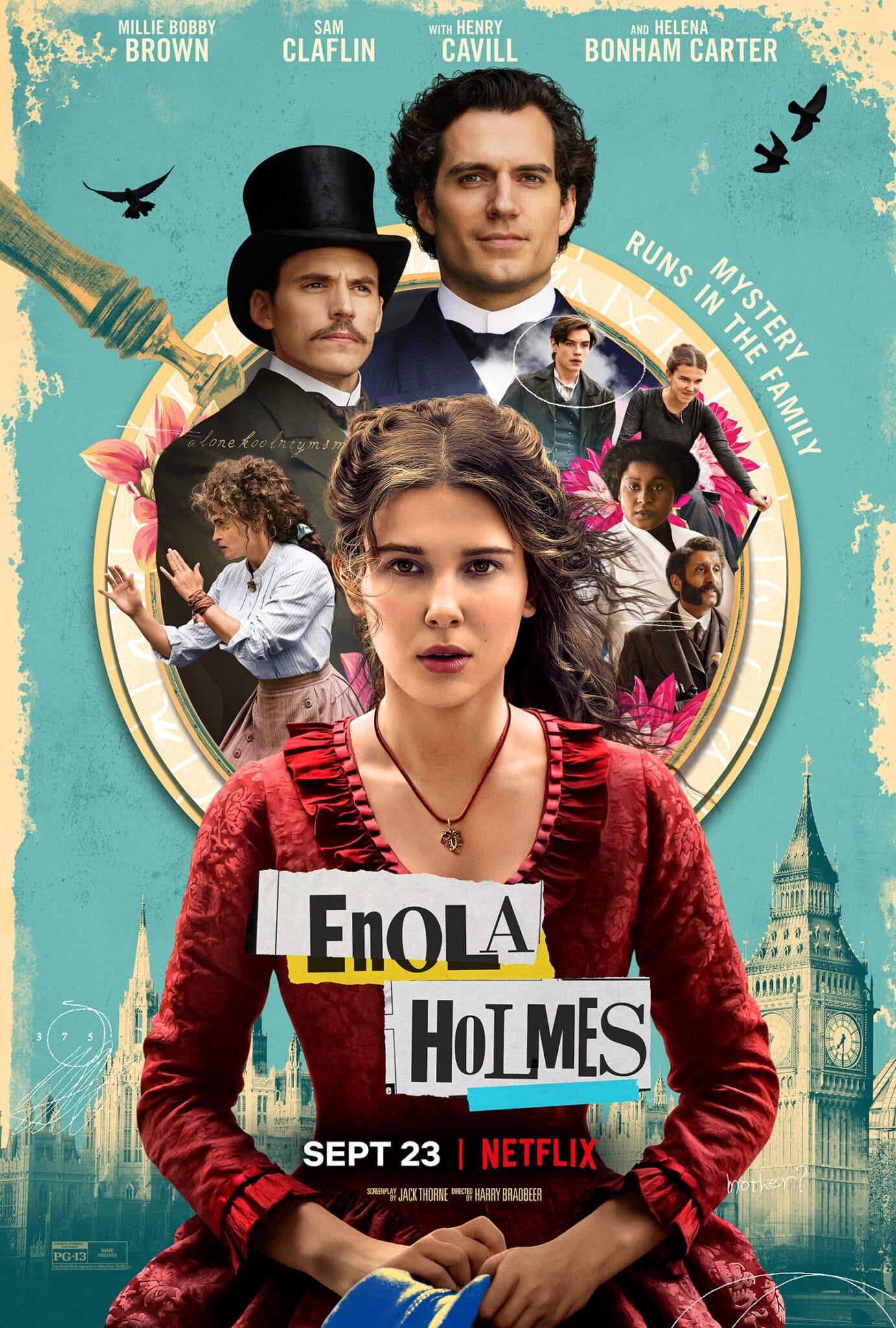 Das Key Art Poster von Enola Holmes zeigt die titelgebende Hauptfigur im Vordergrund, dahinter die weiteren Darsteller und die Kulisse Londons wie den Big Ben