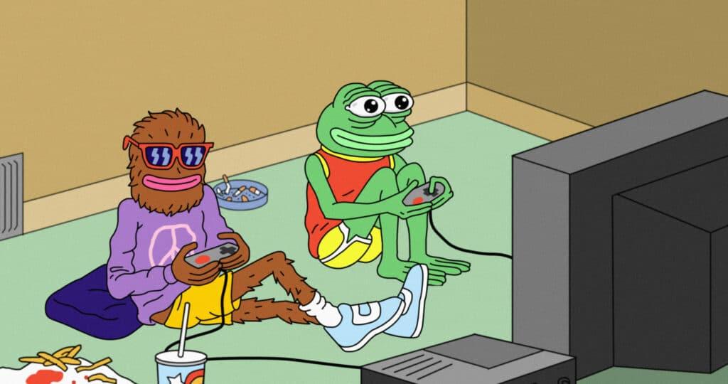 Pepe der Frosch und sein Kumpel Landwolf sitzen auf dem Boden und spielen Videospiele. Animation der Dokumentation Feels Good Man auf dem Film Festival Cologne 2020