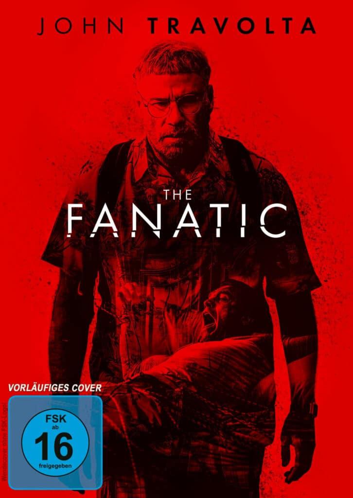 """Das Filmplakat The Fanatic zeigt John Travolta in seiner Rolle als autistischer """"Super-Fan"""" Moose, das Motiv ist komplett in roter Farbe gehalten."""