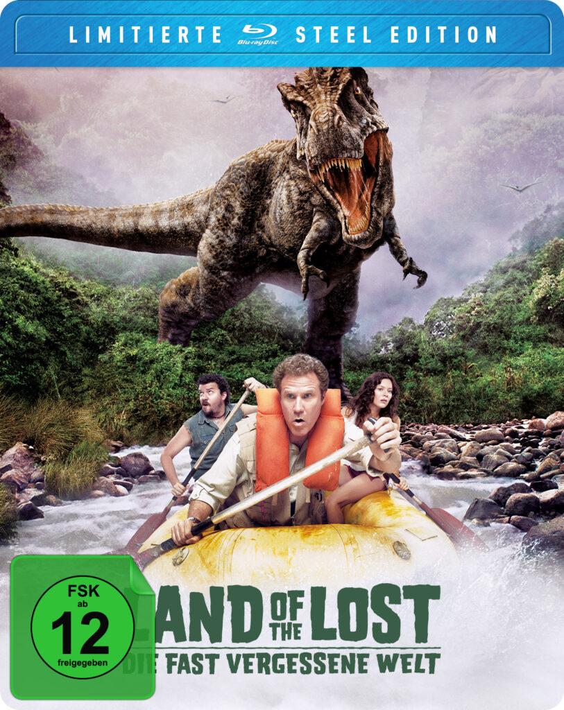 Das Cover der limitierten Steel Edition von Die fast vergessene Welt zeigt Will Ferrell als Rick Marshall, Anna Friel als Holly und Danny R. McBride als Will Stanton im Schlauchboot auf der Flucht vor dem T-Rex.