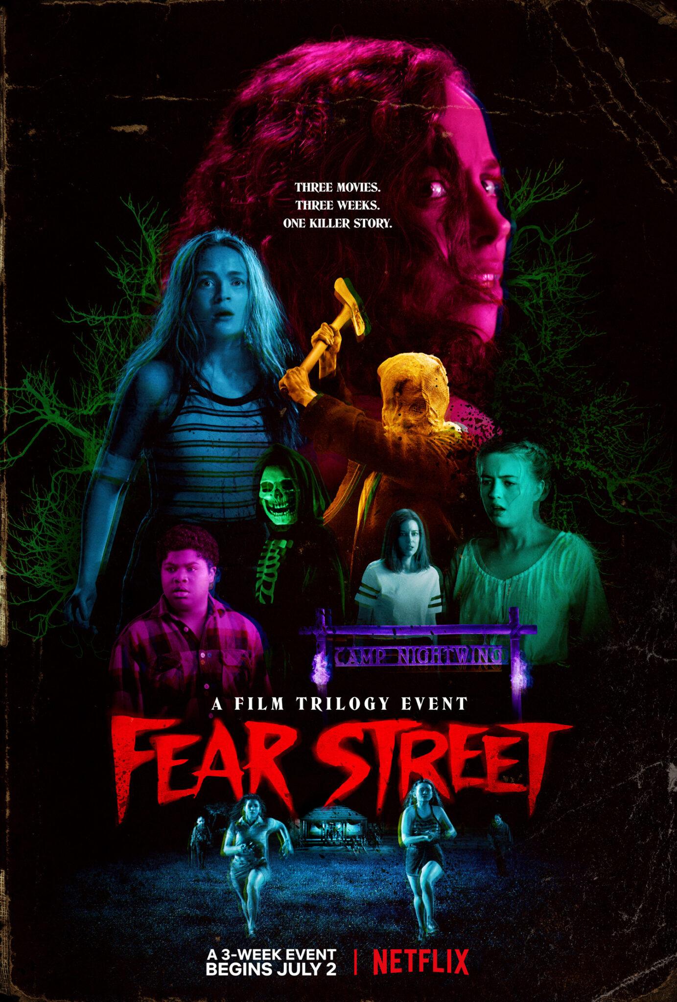 Das Poster zum Dreiteiler zeigt alle Hauptfiguren in Neonfarben und den Titel der Reihe : Fear Street