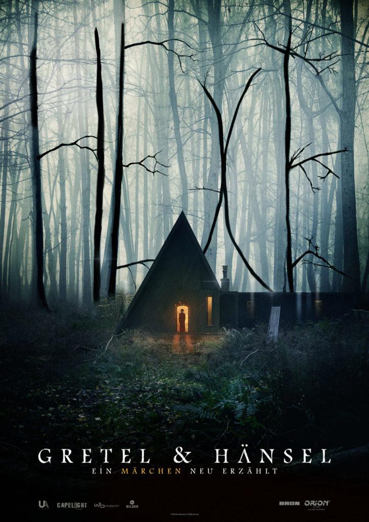 Das Kinoplakat zu Gretel & Hänsel zeigt das mysteriöse Hexenhaus im Wald.