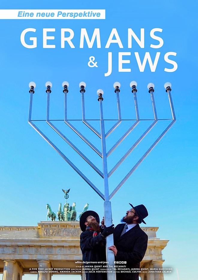 Das DVD-Cover von Germans & Jews - Eine neue Perspektive zeigt den Aufbau eines riesigen Chanukkaleuchters vor dem Brandenburger Tor durch Rabbi Yehuda Teichta, rechts im Bild, und einen Helfer