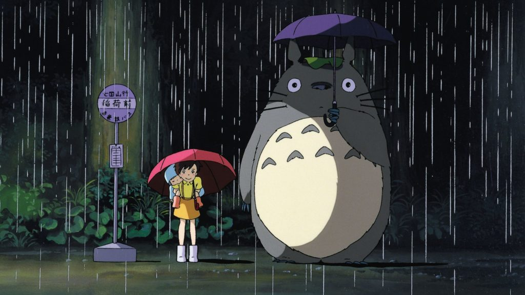 Mein Nachbar Tortoro und seine kleinen Freunde stehen hier im Regen, kommen Neu auf Netflix im Februar 2020.