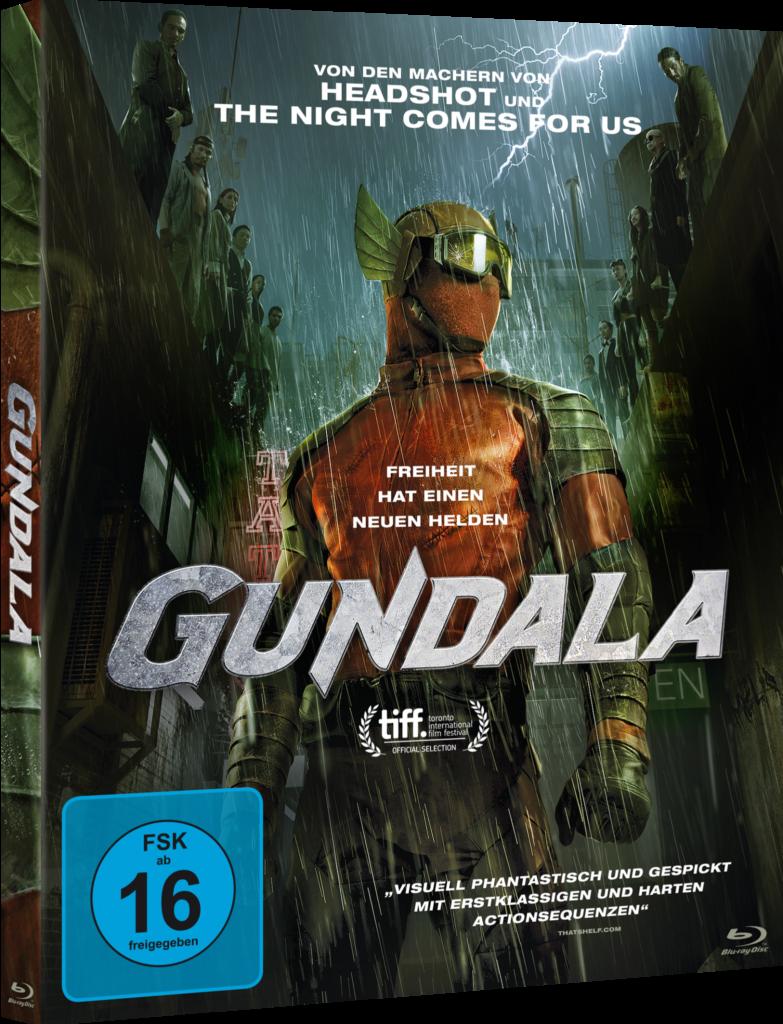 Auf dem offiziellen Blu-Ray Cover steht Gundala maskiert in den verregneten Straßen Indonesiens