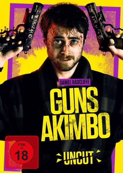 """Auf dem deutschen Cover von """"Guns Akimbo"""" ist Daniel Radcliffe zu sehen. Dieser hat Wunden oder zumindest Spuren von Blut im Gesicht. Seine Arme sind leicht in die Höhe gereckt. Dabei hält er zwei Waffen in den Händen. An den Finger sind Schrauben zu erkennen und auf den Waffen selber sind die Worte """"Skizm"""" und """"This Way"""" eingeritzt. Der Hintergrund ist in gelb und einem knalligen lila gehalten. In gelben Großbuchstaben ragt der Schriftzug """"Guns Akimbo"""" über den Körper von Radcliffe. Darüber steht dessen Name in lilafarbener Schrift. Darunter steht zu dem in ebenfalls gelber Schrift noch """"Uncut""""."""