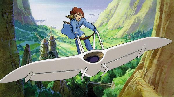Nausicaä fliegt auf ihrem Gleiter als Vorreiter der Studio Ghibli Filme