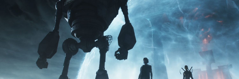 Hauptcharaktere und großer Roboter stehen auf einem Felsen, im Hintergrund eine Energiekuppel