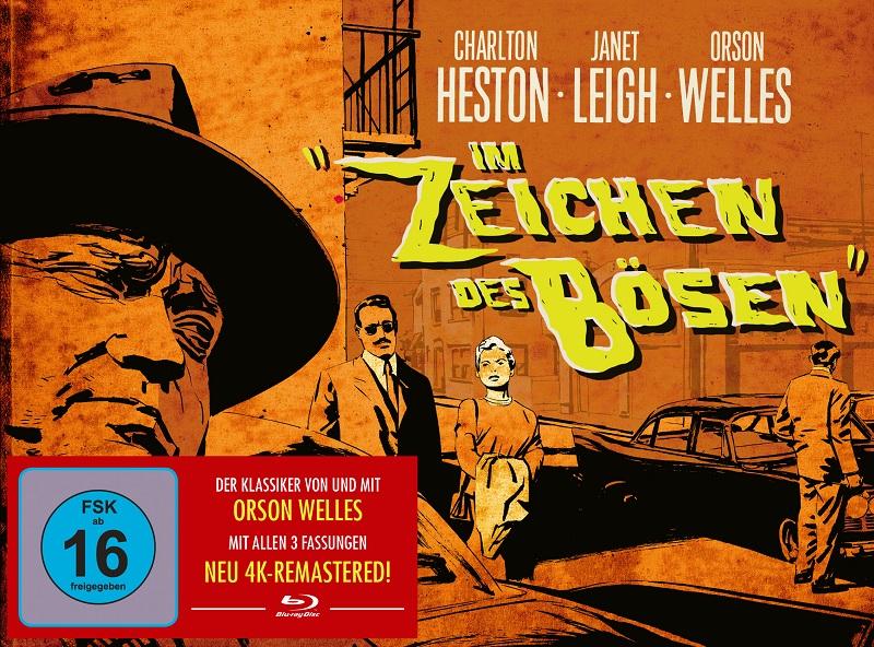 Das orangene Cover von Im Zeichen des Bösen ziert ein Titelschriftzug in gelben Lettern, während Orson Welles groß von der Seite ins Bild schaut, auf dem in der Mitte in klein Charlton Heston und Janet Leigh zu sehen sind