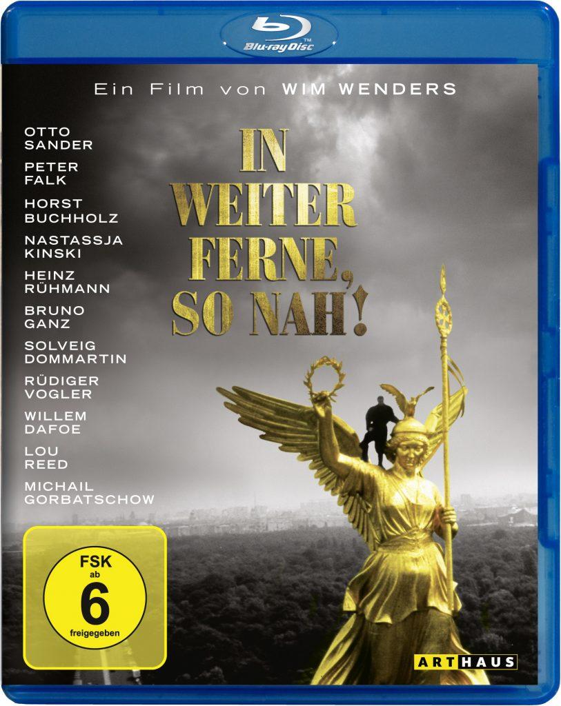 Das Cover der Blu-ray von In weiter Ferne, so nah! zeigt den Engel Cassiel auf der Berliner Siegessäule. Er steht auf der rechten Schulter der Engelsfigur vor dem Flügel.