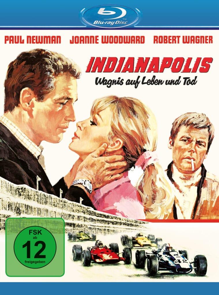 Das Cover der Blu-ray von Indianapolis - Wagnis auf Leben und Tod zeigt Zeichnungen von Paul Newman als Frank Capua und Joanne Woodward als Elora, die sich küssen. Luther Erding, gespielt von Robert Wagner, steht rechts daneben und blickt auf das Paar. Unter ihnen rasen Rennwagen über die Strecke.