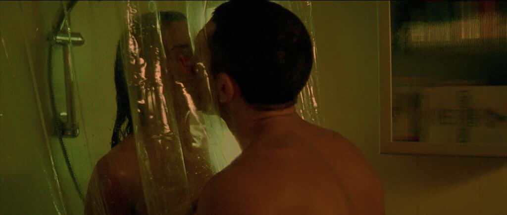 Alex steht unter Dusche hinter einem durchsichtigen Duschvorhang. Marcus steht ihr auf der anderen Seite gegenüber, die beiden küssen sich durch den Vorhang in Irreversibel.