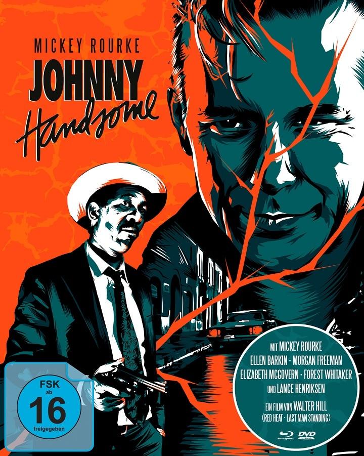 Mickey Rourke und Morgan Freeman auf dem dreifarbigen Cover von Johnny Handsome - Der schöne Johnny