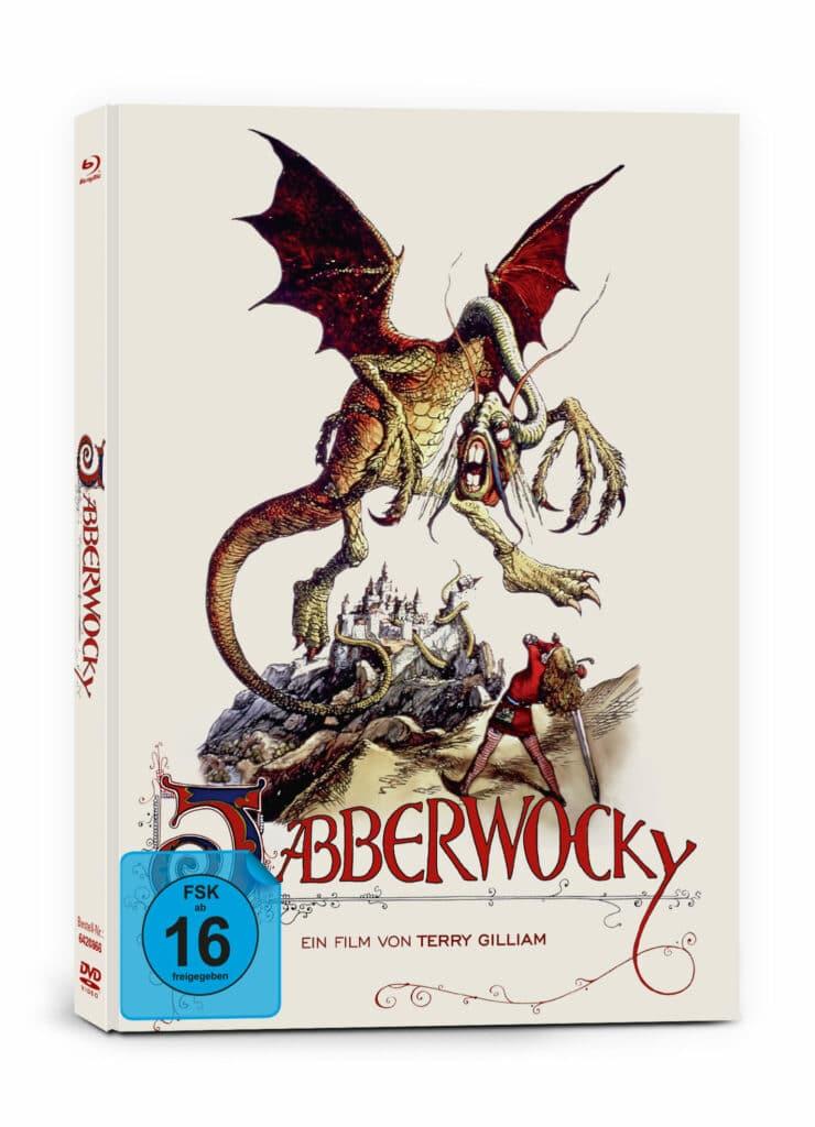Das Mediabook-Cover von Jabberwocky von Capelight Pictures zeigt das titelgebende Ungeheuer über der Stadt. Ihm gegenüber steht eine Frau, die ein Schwert zum Schlag ausholt.