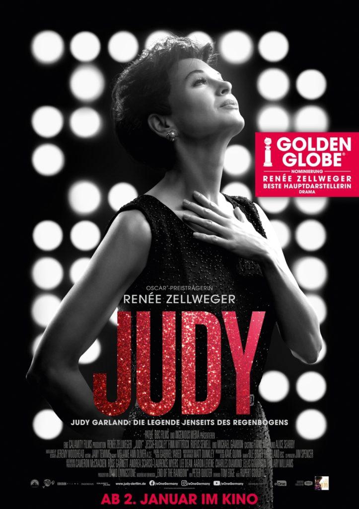 Das Filmplakat von Judy ist in schwarz-weiß gehalten und zeigt Hauptdarstellerin Renée Zellweger.