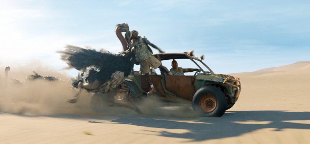 Milo (Kevin Hart/Danny Clover) hält sich in Jumanji: The Next Level an einem Auto fest.