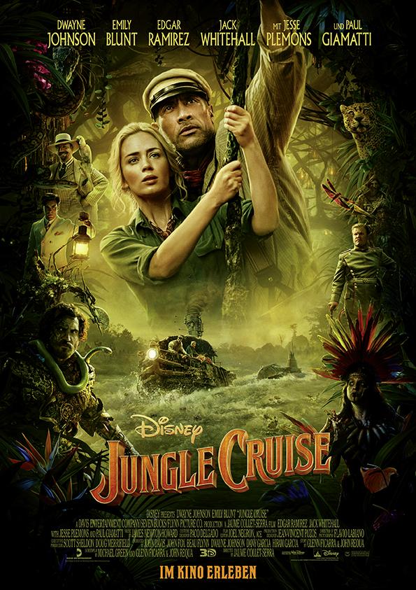 Filmplakat von Jungle Cruise. In der Mitte sind Emily Blunt und Dwayne Johnson zu sehen. Drumherum diverse Personen und Dschungel-Gestrüpp.